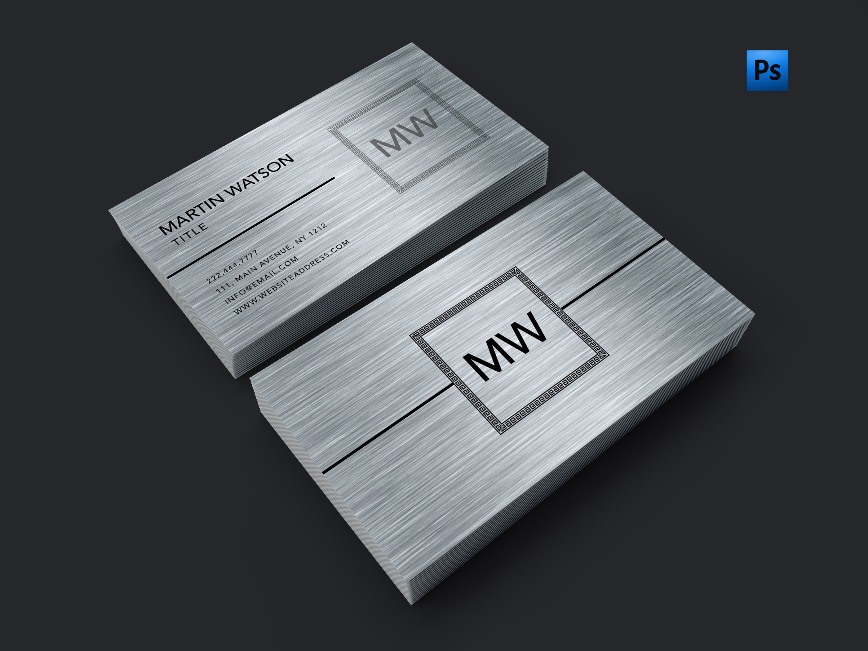 Brush metal finish silver business card