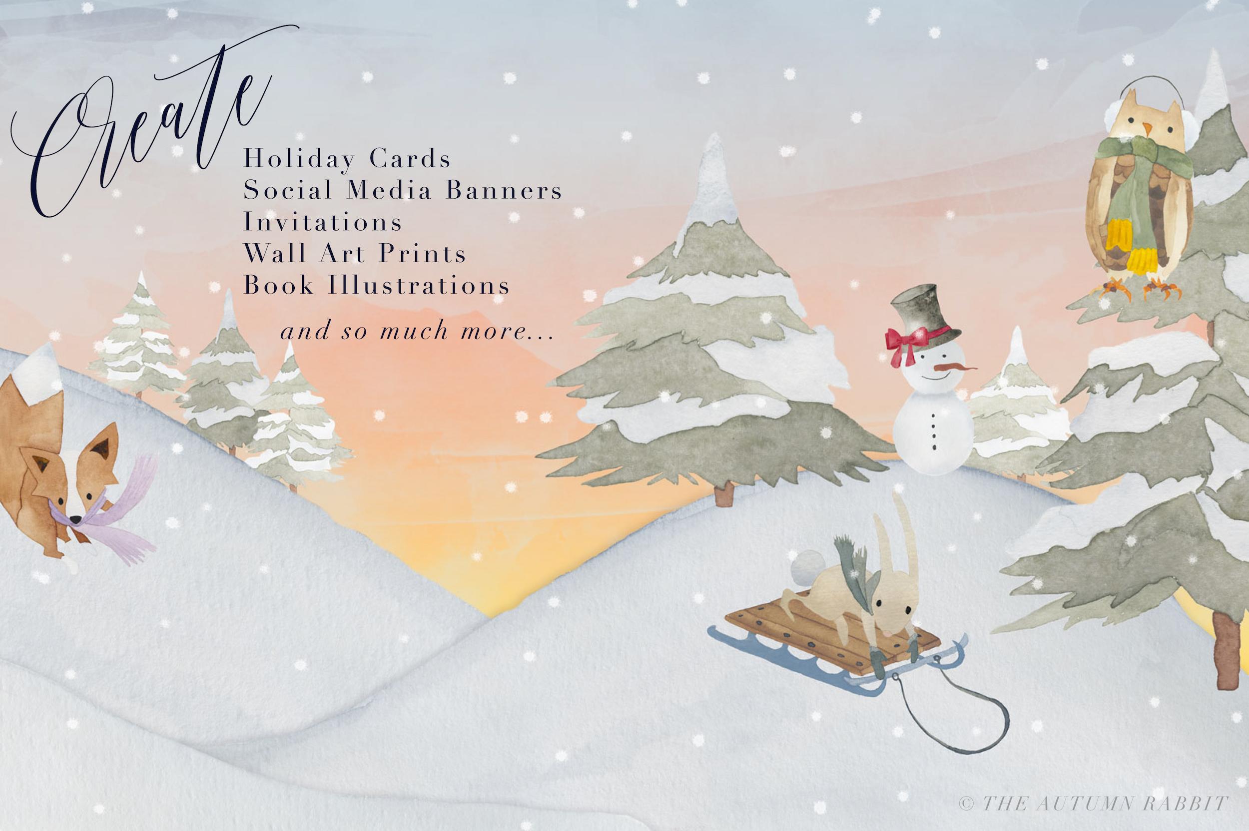 Watercolor Winter Scene Creator example image 5