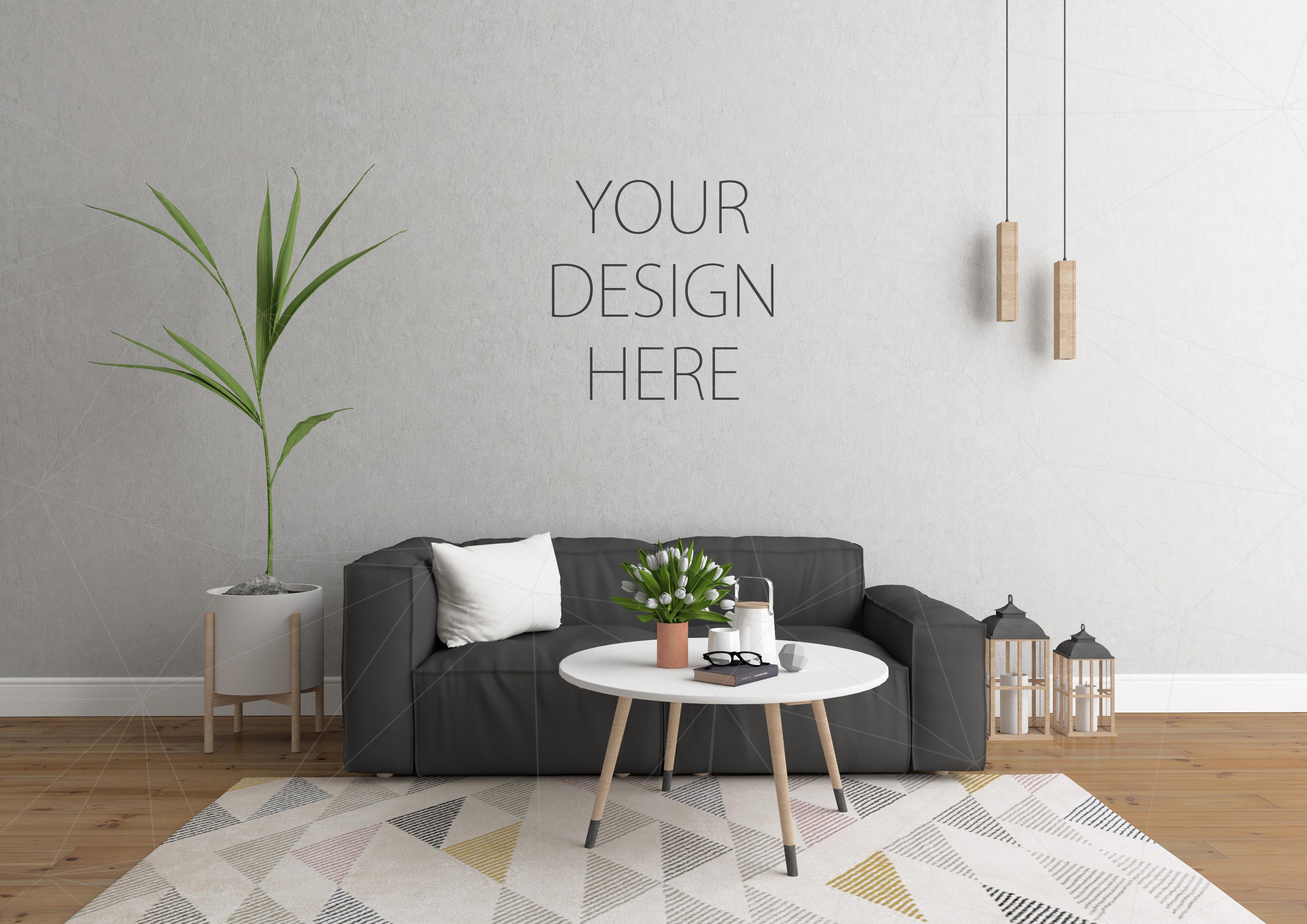 Interior mockup bundle blank wall moc design bundles for Design your room free