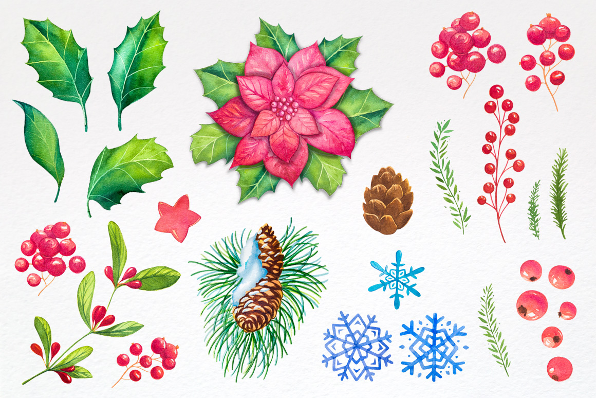 Christmas. Watercolor illustrations. example image 5