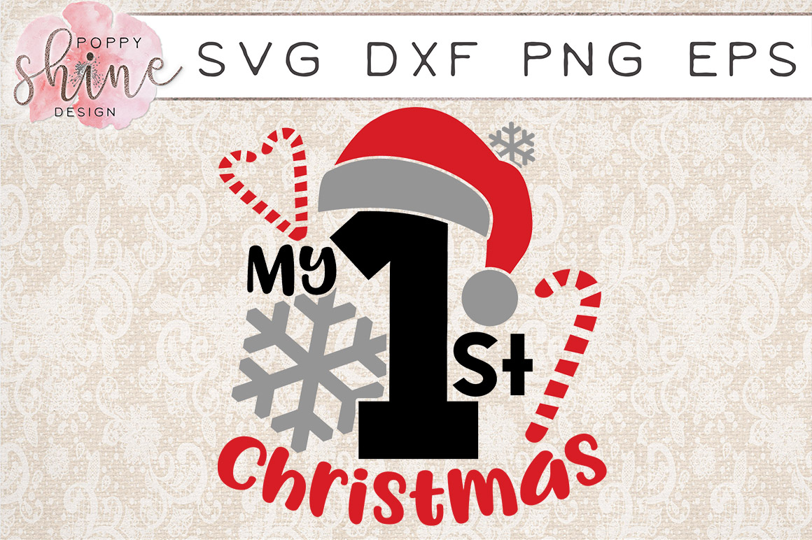 My 1st Christmas SVG PNG EPS DXF Cutting Files example image 1