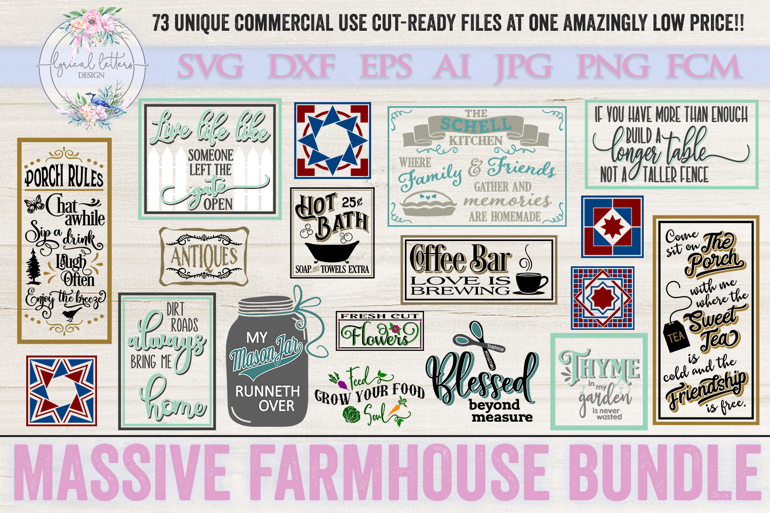 Farmhouse Bundle of 73 SVG DXF FCM AI EPS JPG and PNG Files example image 4