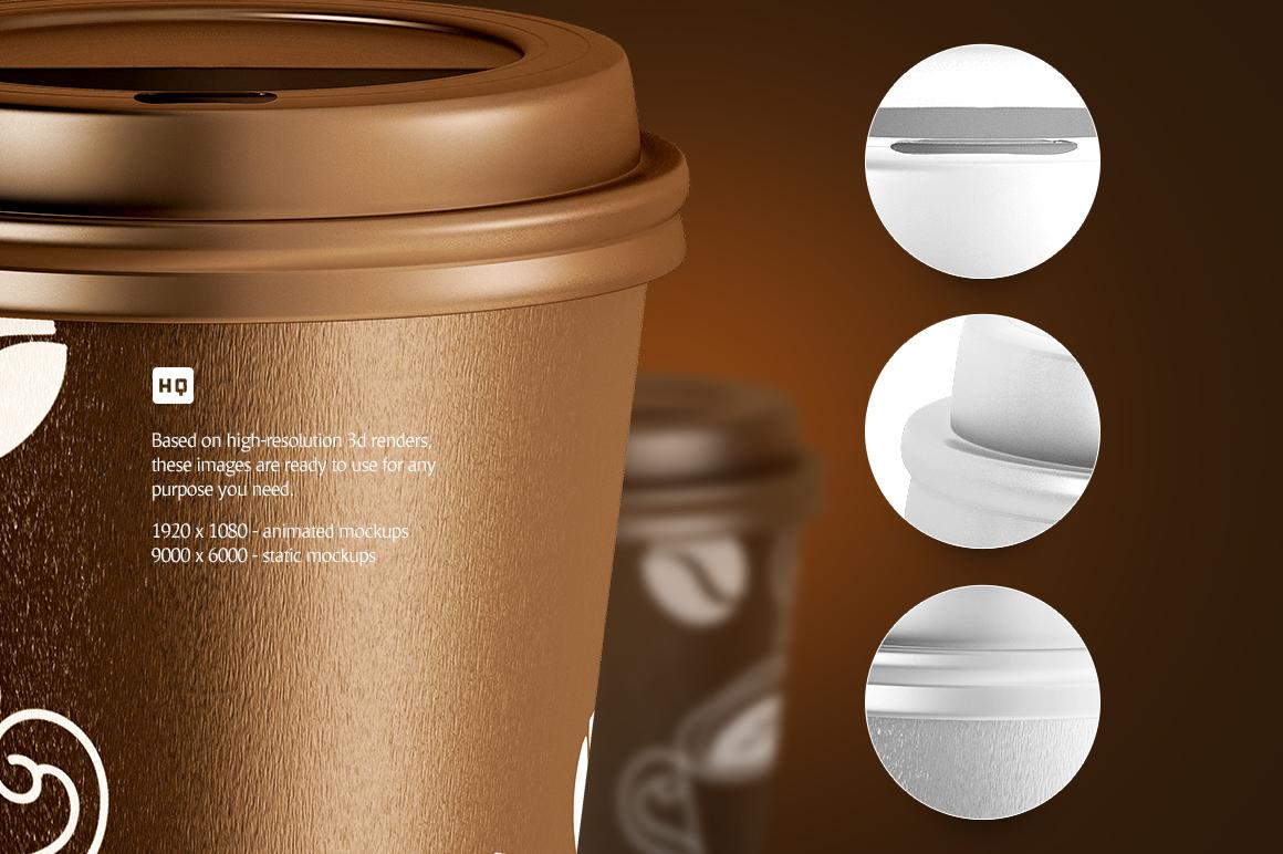 Coffee Cup Animated Mockups Bundle (Coffe mug mock up, cofee cup mockup, tea take away cup mock-up) example image 6