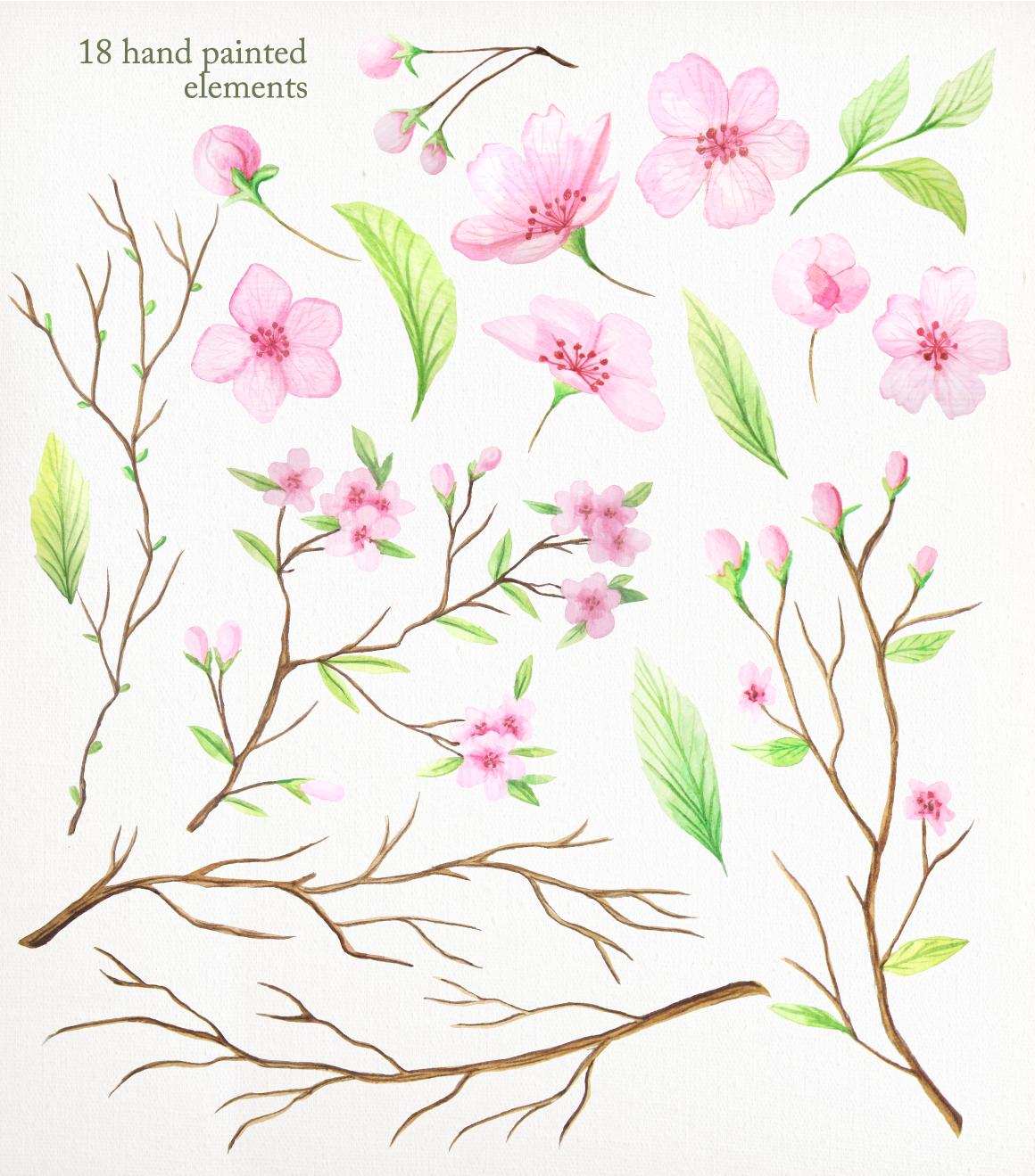 Summer Watercolor Floral BUNDLE example image 11