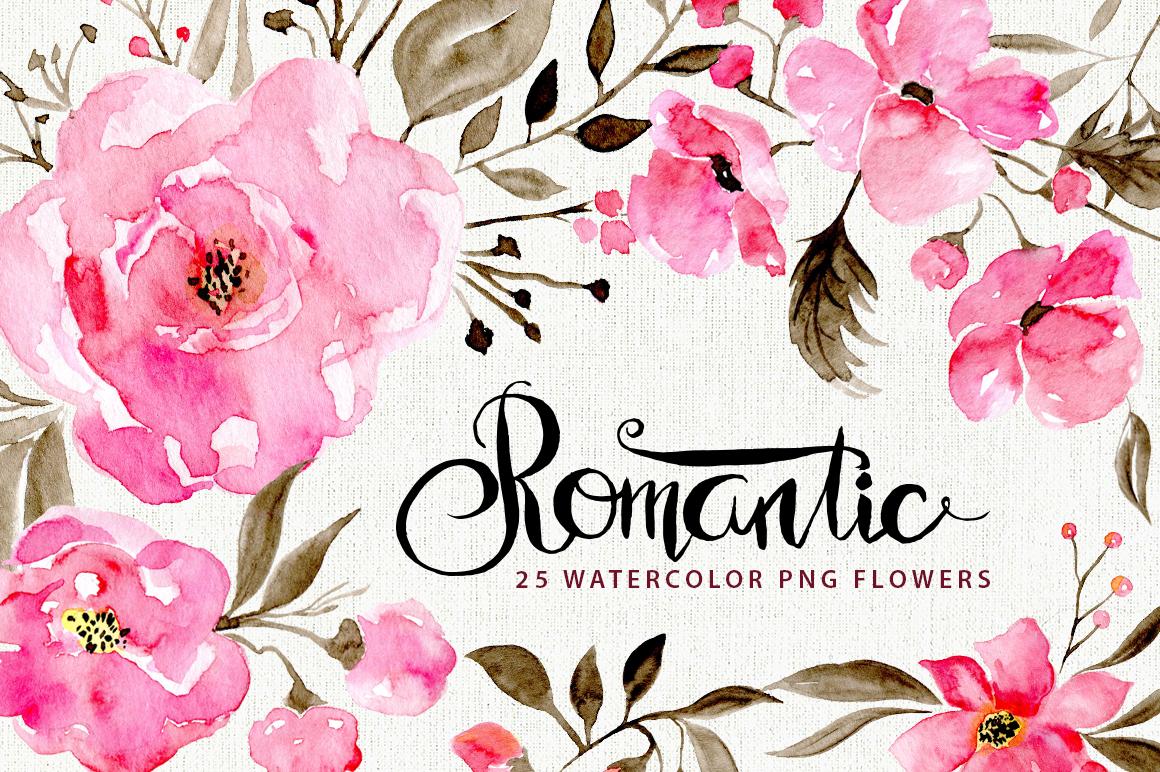 Romantic watercolor flowers by watercol design bundles romantic watercolor flowers example image 1 mightylinksfo
