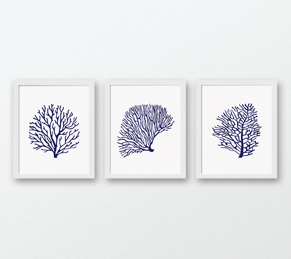 Coral Prints, Navy Blue Wall Art, Print Set Of 3, Coral Wall Art