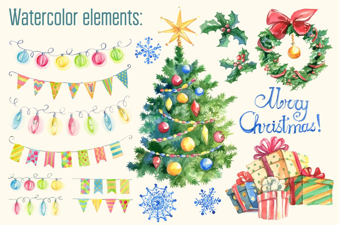 Hand drawn Christmas vector set example image 2