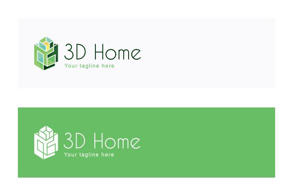 3D Home   Architect Logo Design Template For Interior U0026 Exterior Services  Example Image 2