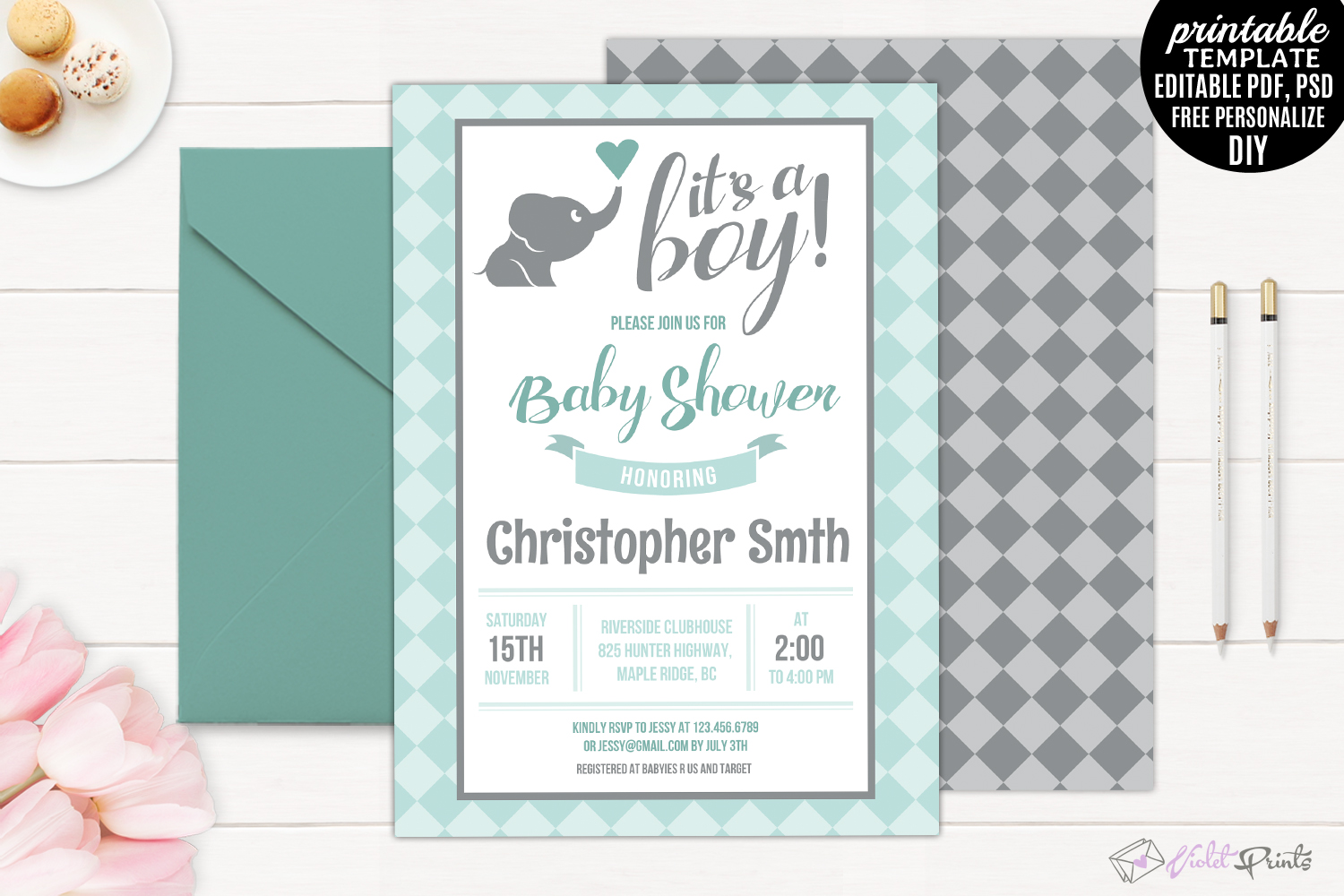 Mint and Grey Elephant Baby Shower Invi | Design Bundles