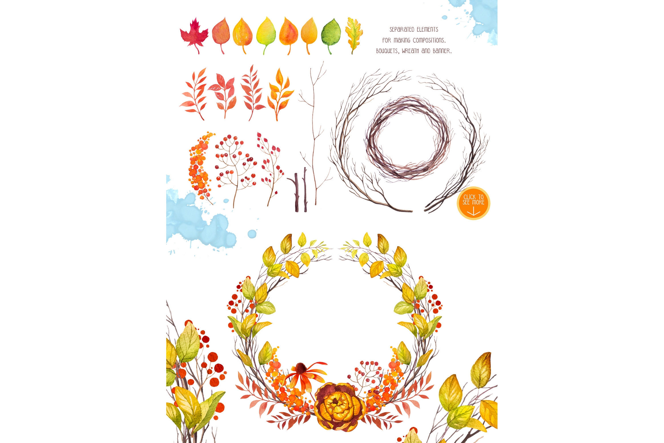 Autumn leaves. Watercolor set. example image 9