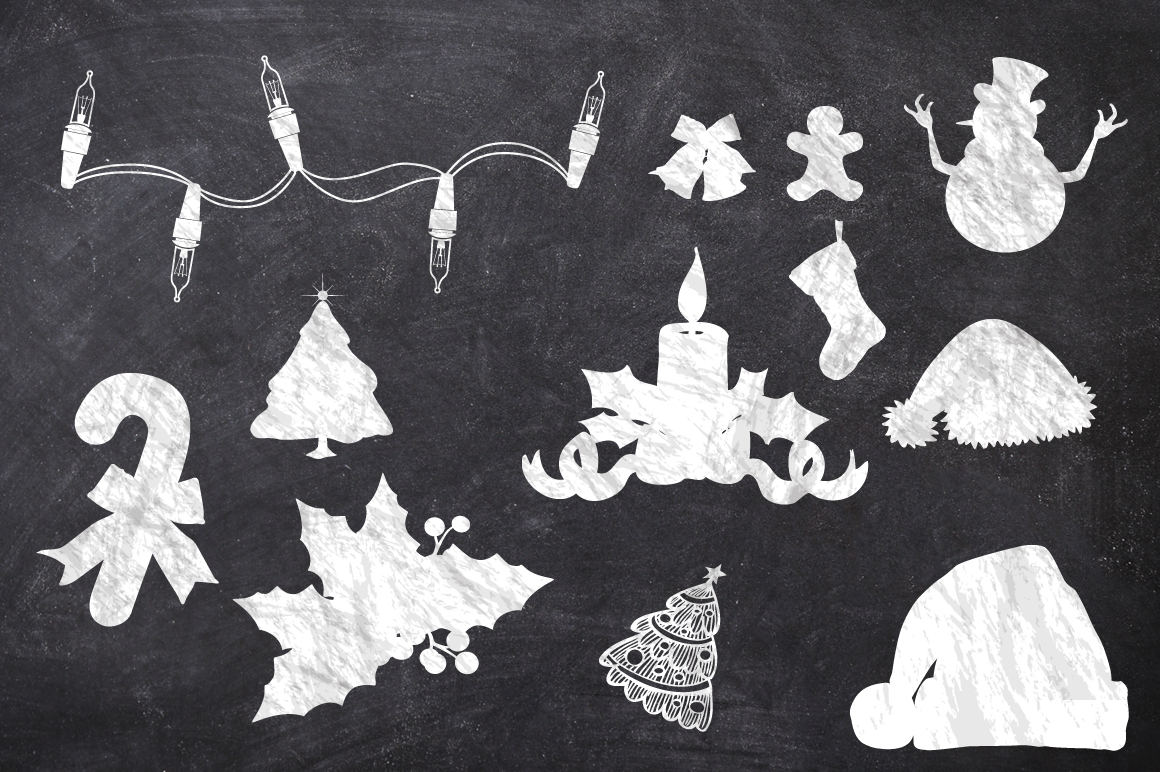 50 Chalk Christmas Elements example image 3