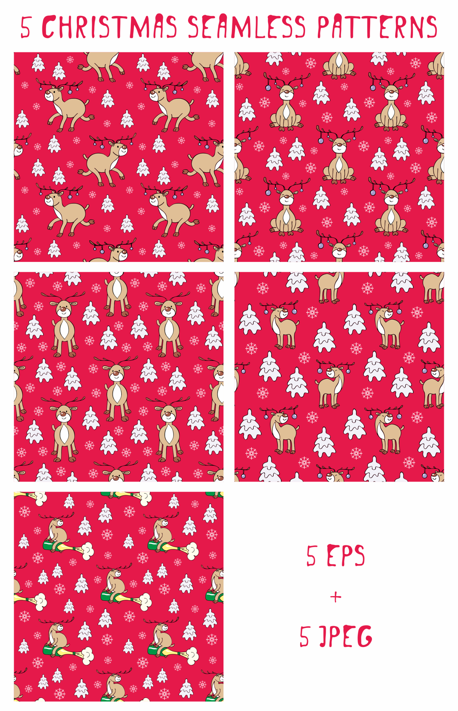 Funny deer. Christmas clip arts and seamless patterns example image 3