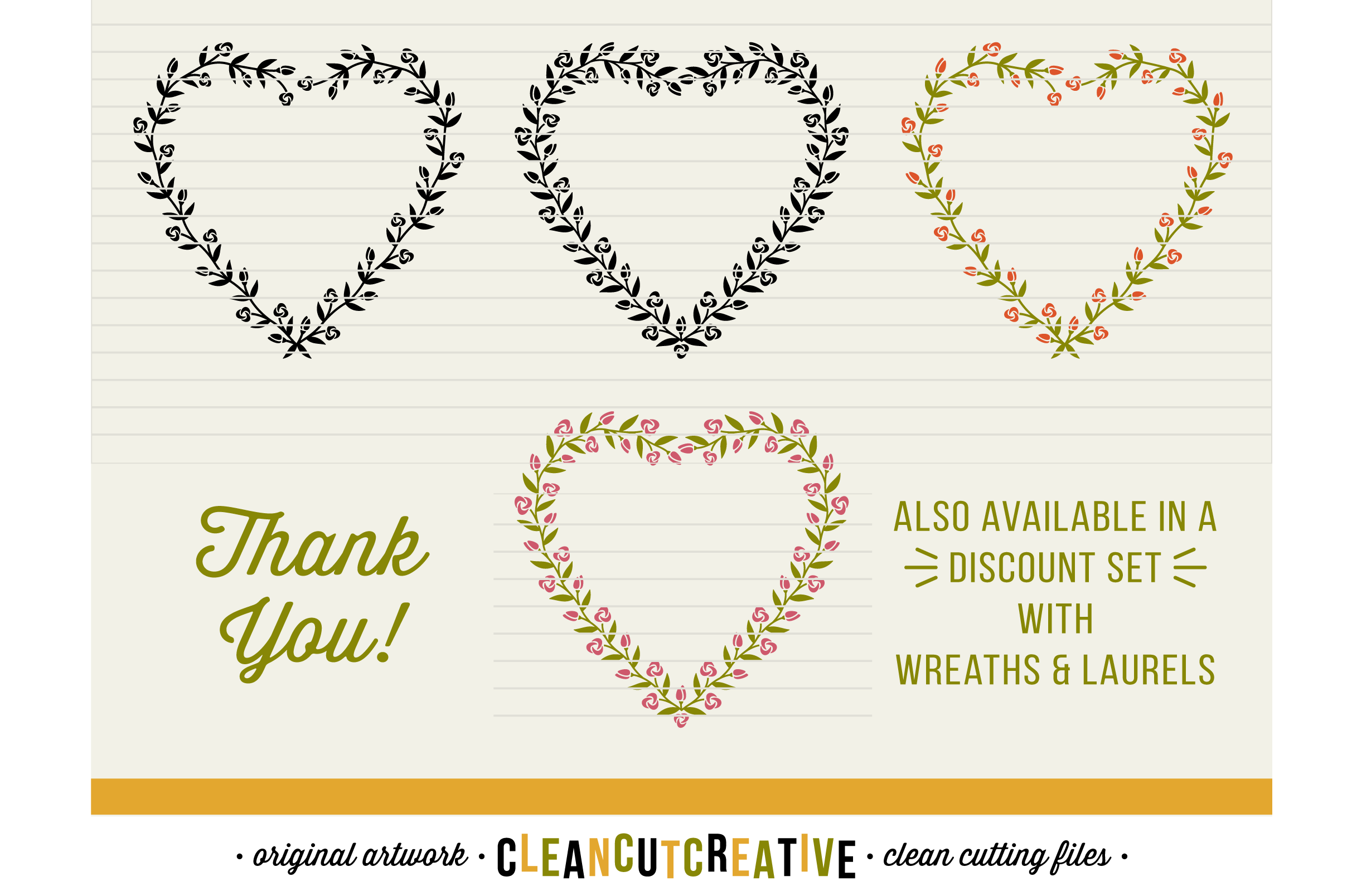 8 svg FLORAL HEARTS floral leaf heart wreath frames - SVG DXF EPS PNG - for Cricut and Silhouette Cameo - clean cutting digital files example image 3