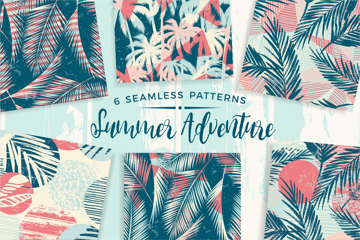Summer Adventure. 6 seamless pattern example image 1