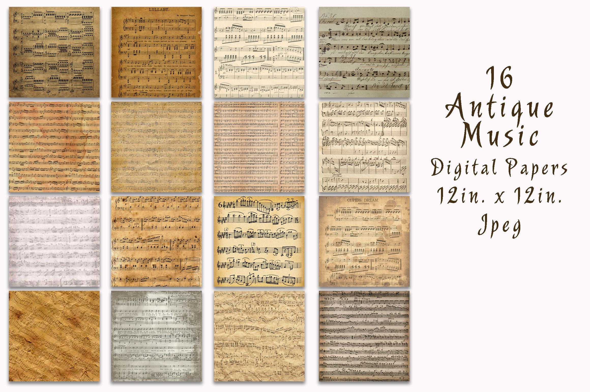 Antique Music Digital Paper example image 2