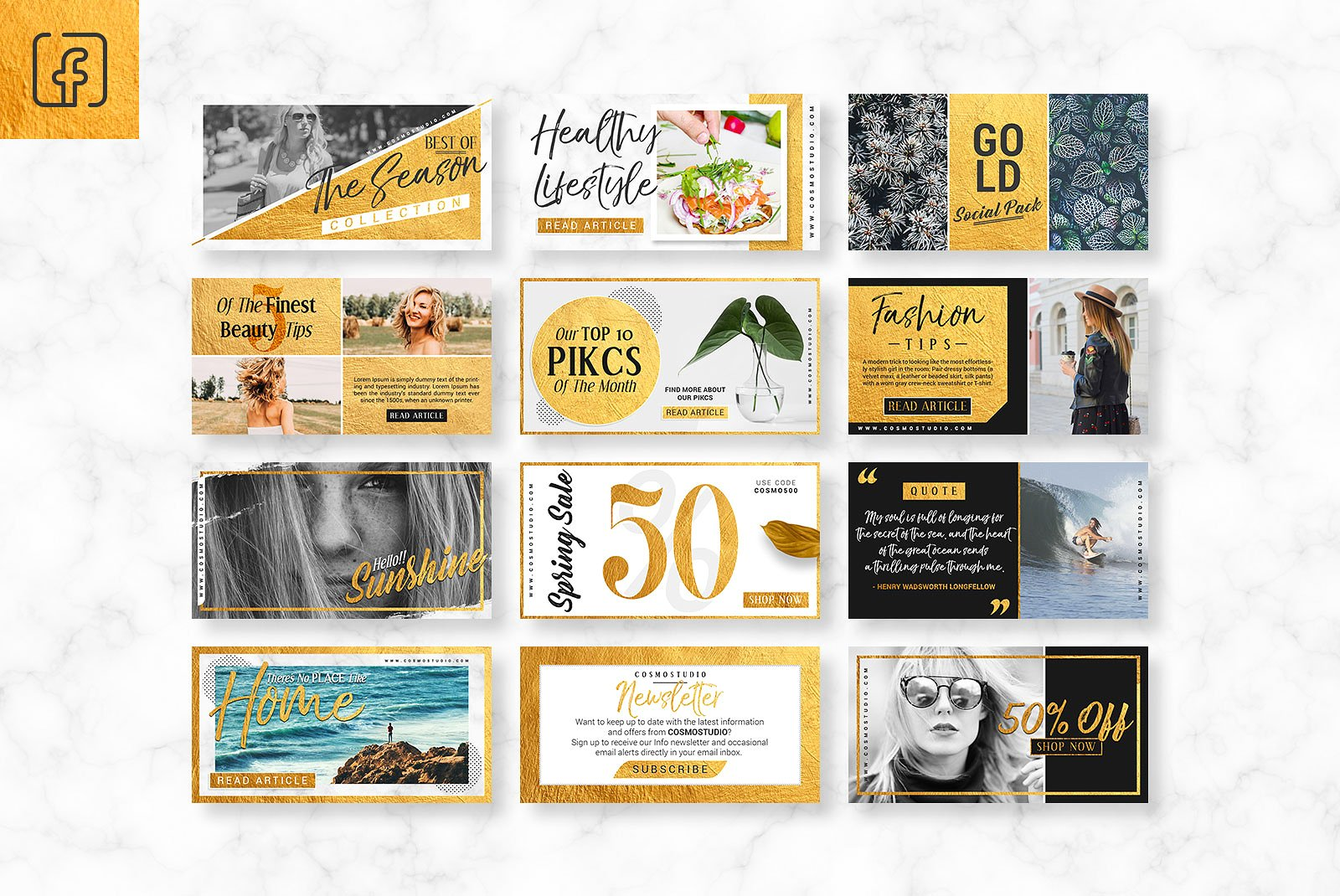 GOLD Social Media Pack example image 3