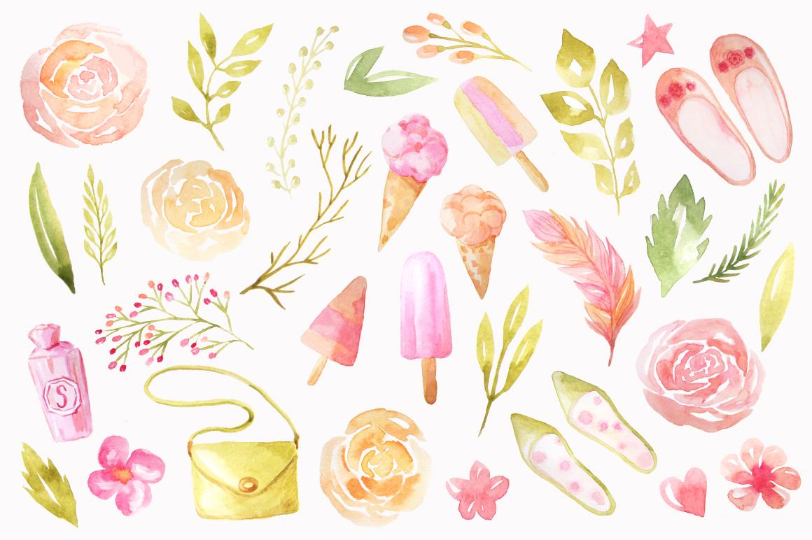 Summer Watercolor Floral BUNDLE example image 5