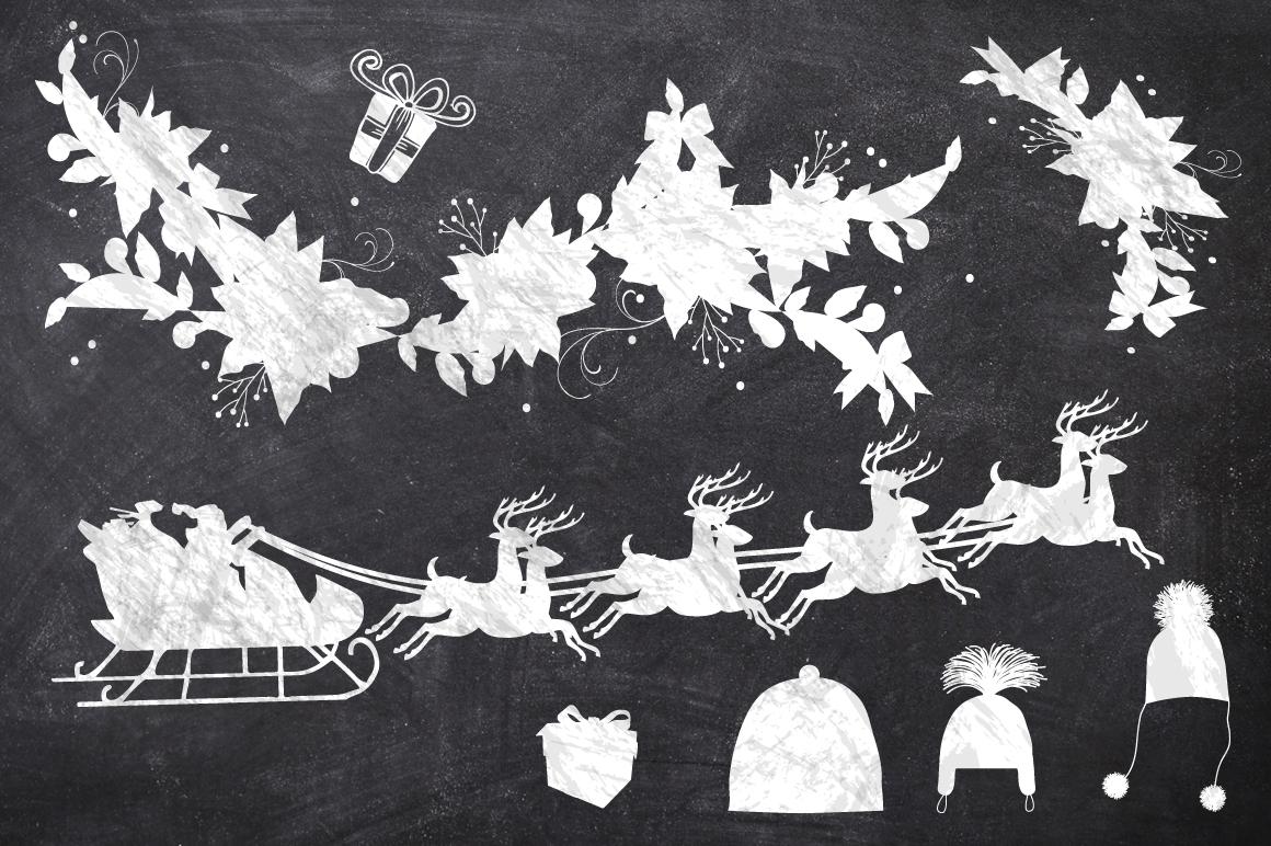 50 Chalk Christmas Elements example image 2