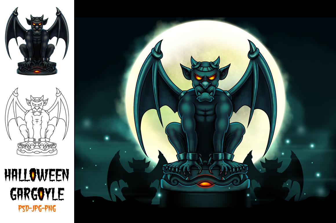 Halloween Gargoyle Illustration - Digital Painting example image 1
