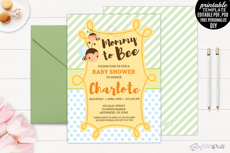 Mommy to bee Baby Shower Invitation Tem   Design Bundles
