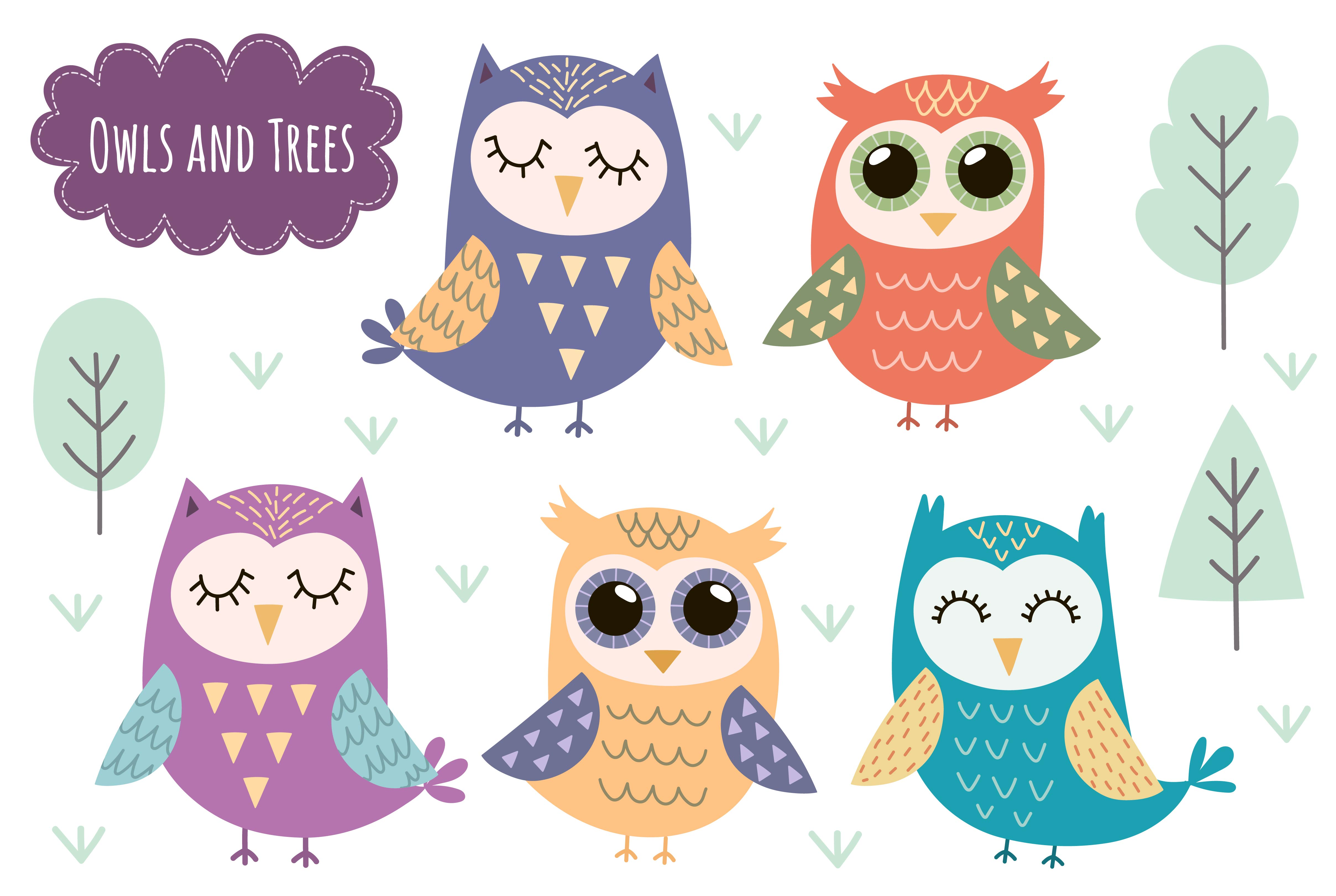 Owl Tales: seamless pattern & elements example image 5