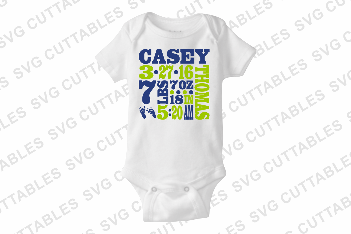 Baby Birth Announcement cut file example image 4