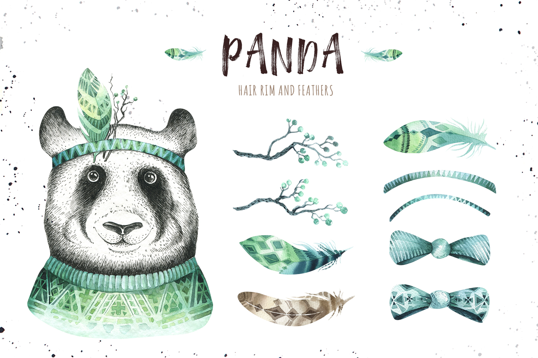 Watercolor panda illustration. Bohemian cute animals.  example image 3