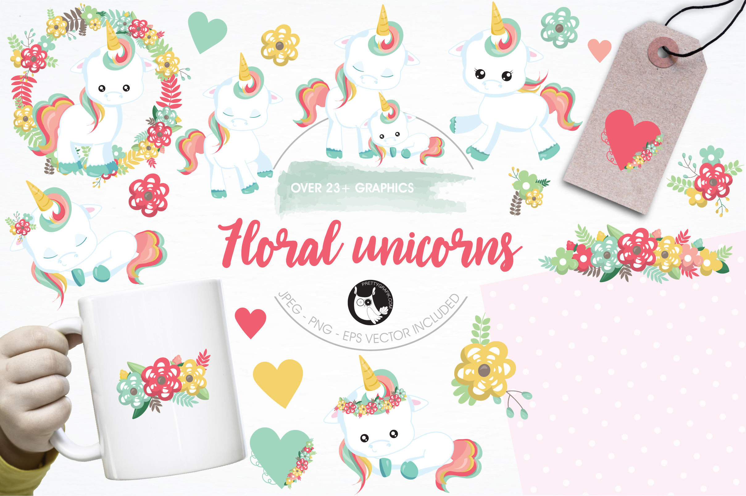 Floral unicorn graphics and illustrations example image 1