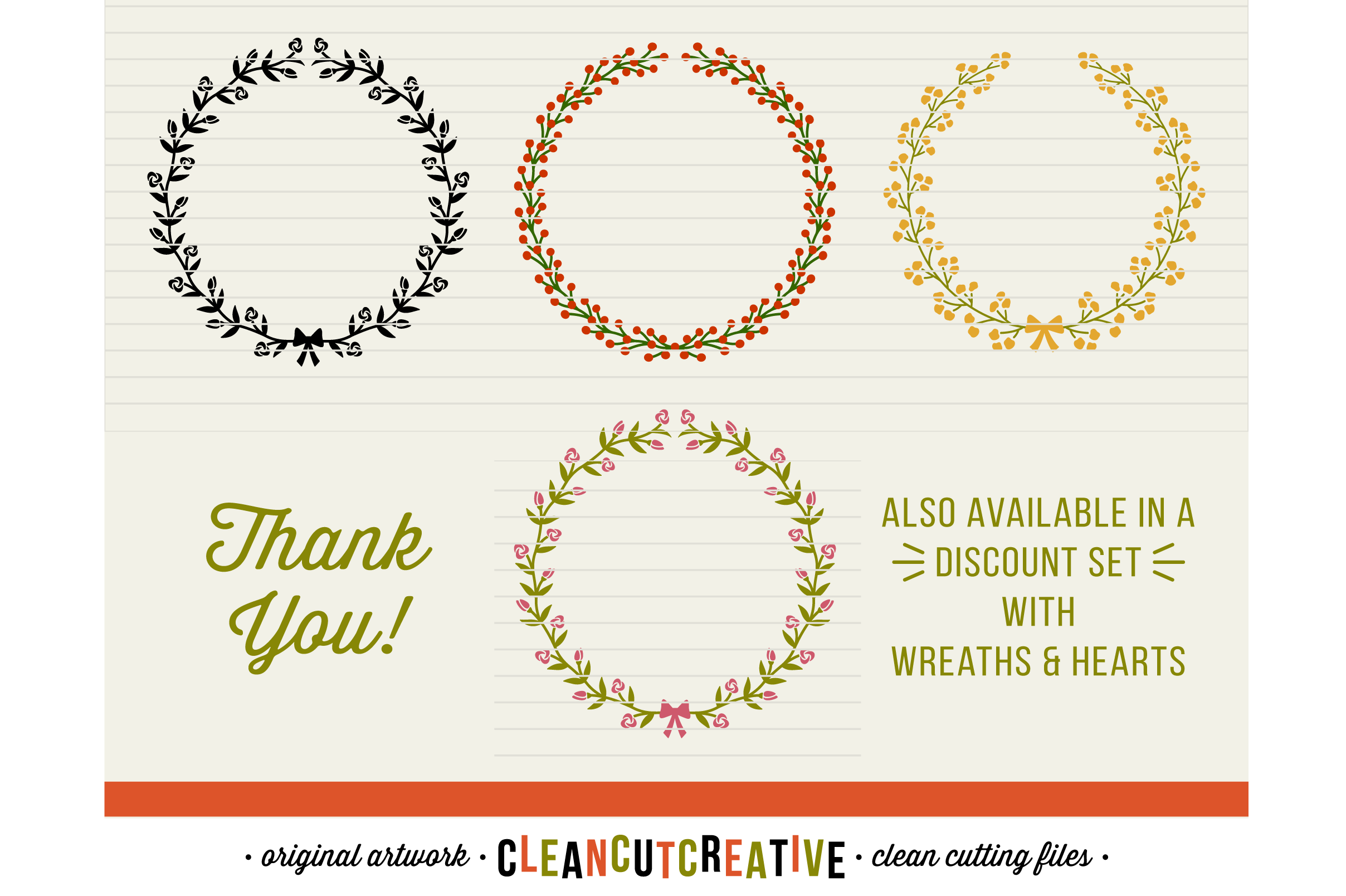 FLORAL MEGA BUNDLE 30 wreaths, laurels and hearts leaf frames - SVG DXF EPS PNG - for Cricut and Silhouette Cameo - clean cutting digital files example image 6