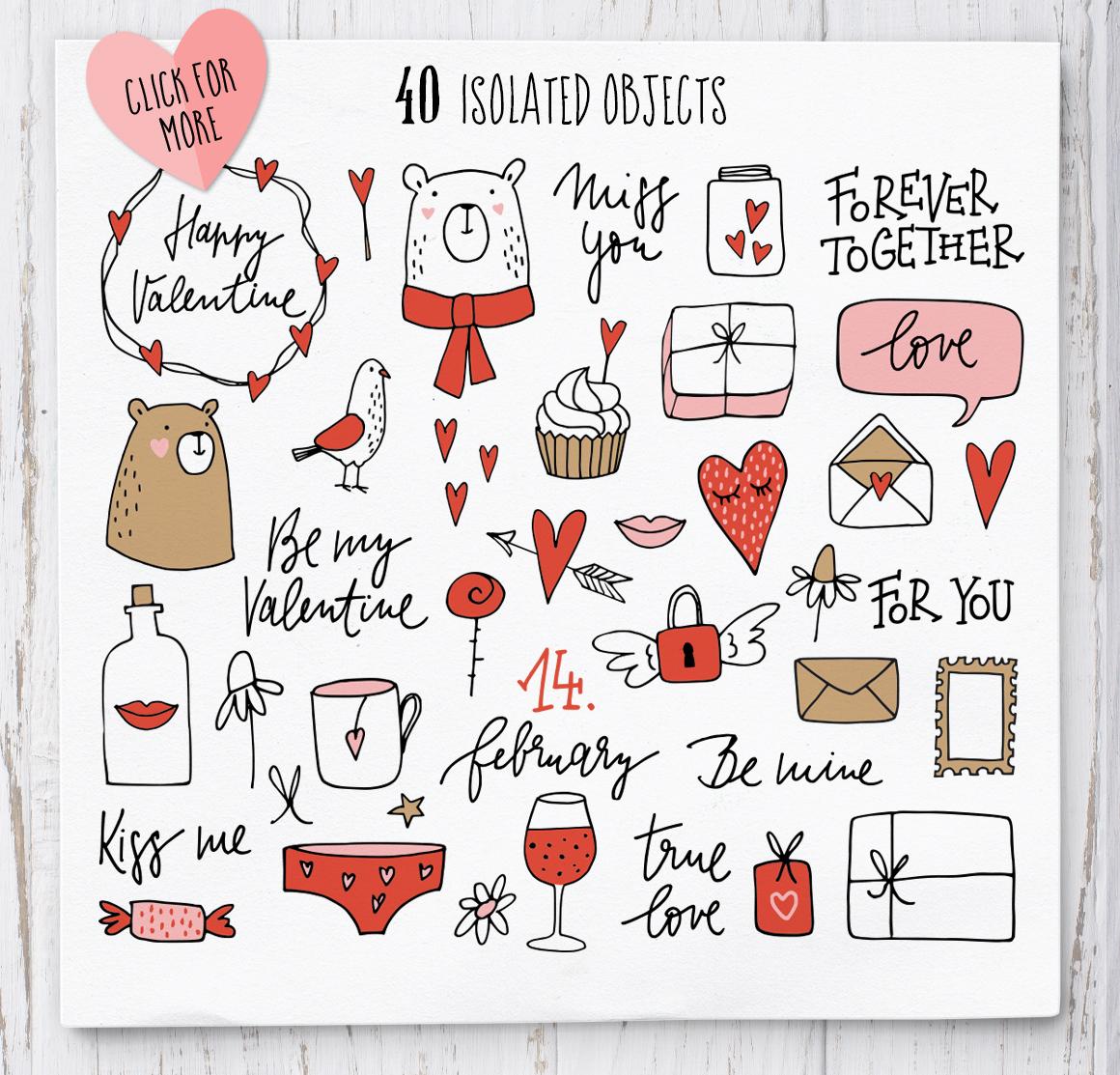 Happy Valentine graphic set example image 3