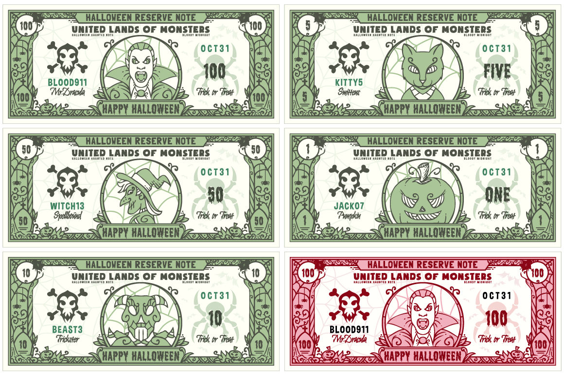 Halloween Money Banknotes Vector Set example image 1