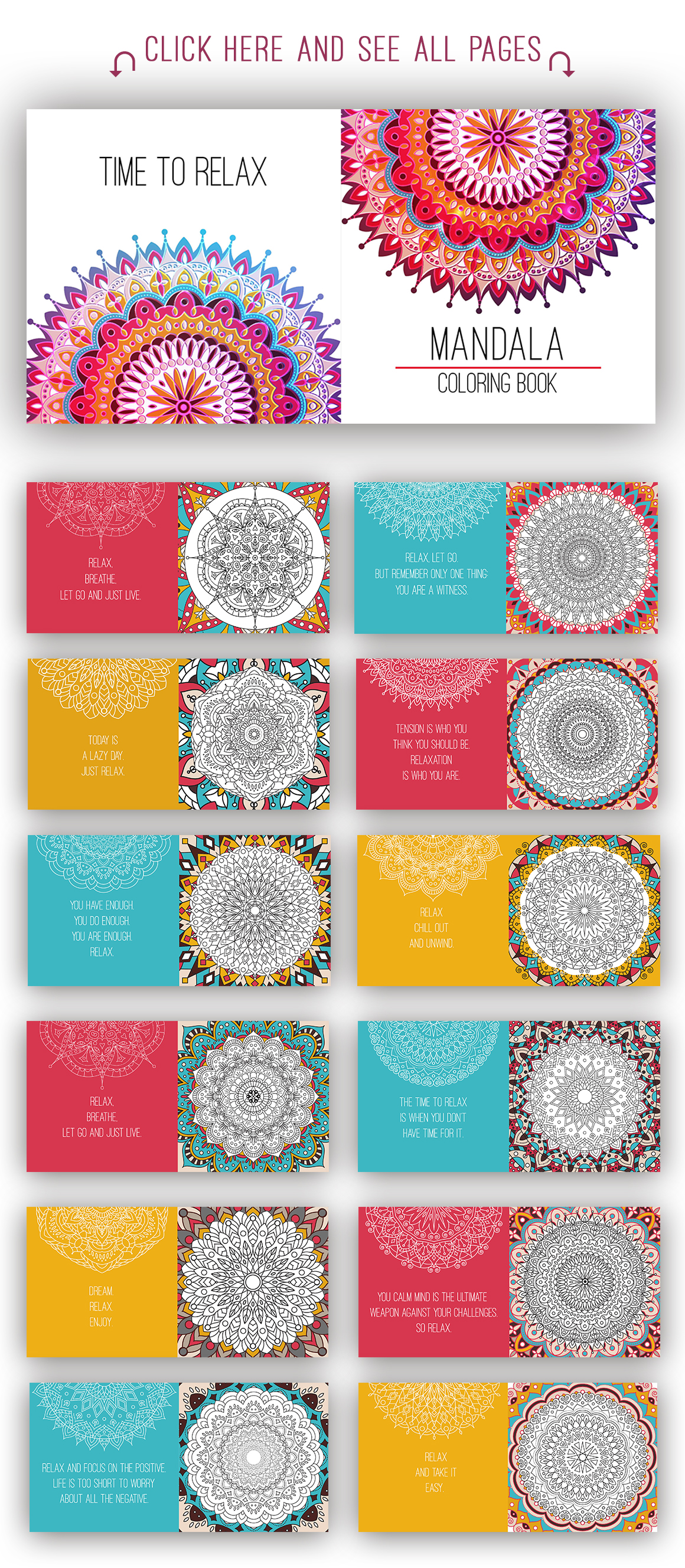 Mandala coloring book for adults. by Pe | Design Bundles