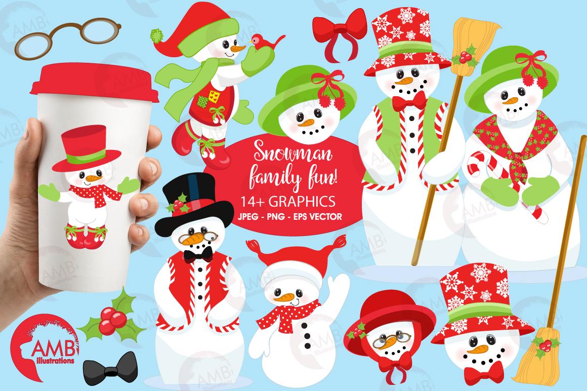 snowman family clipart graphics illus design bundles rh designbundles net Cute Snowman Clip Art snowman family clipart