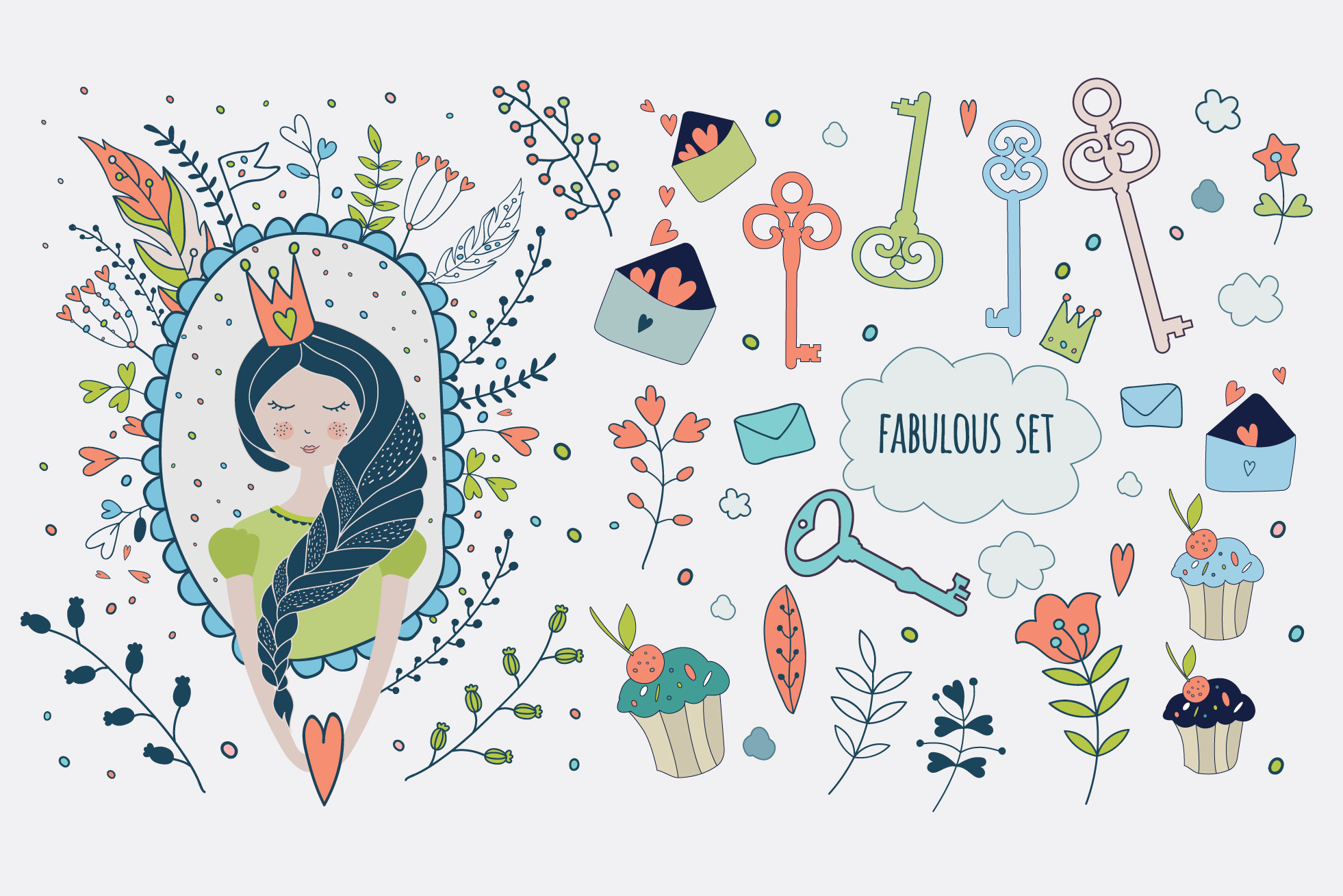 Vector set. Cute princess collection example image 4