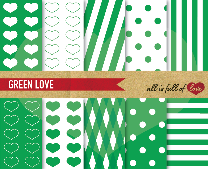 Green Digital Paper, Green Background Patterns  example image 1