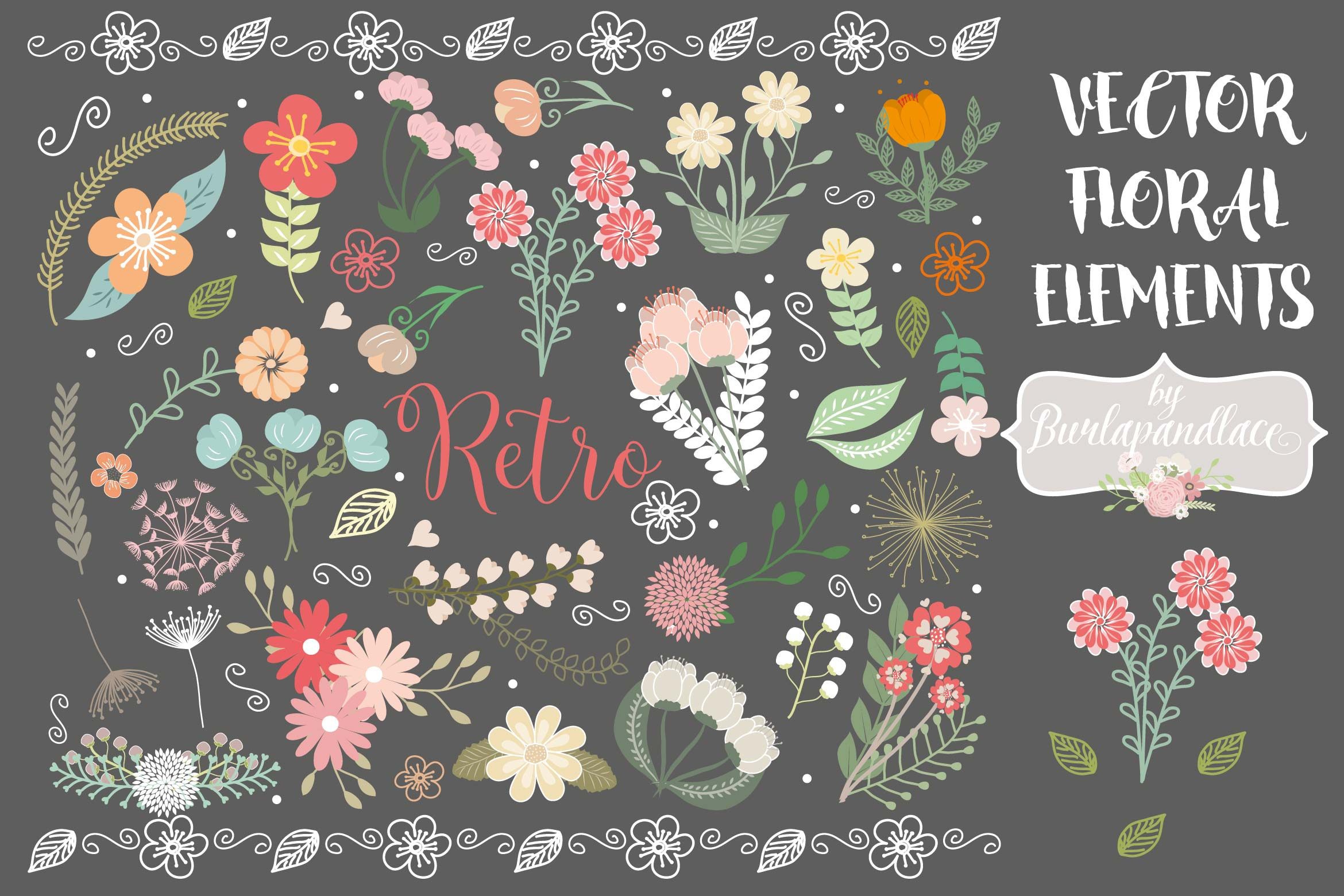 Rustic Wedding Floral Clip Art example image 1
