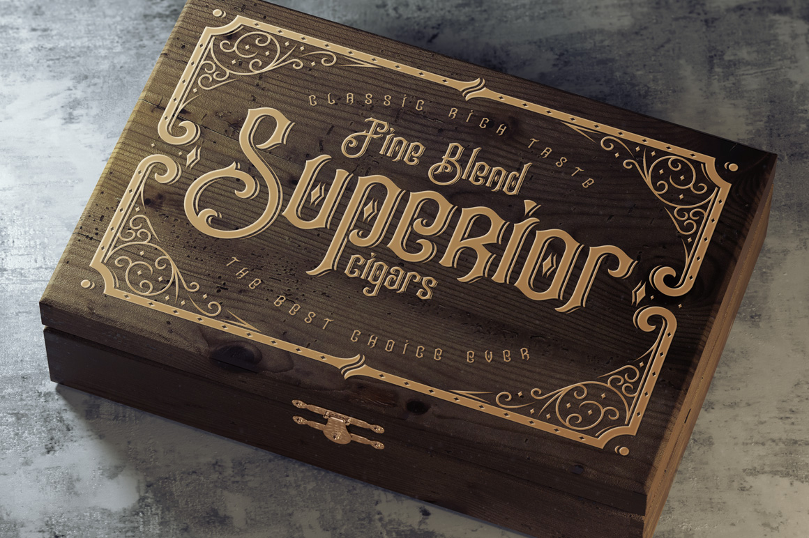 Tobacco Box Font, Mockups, Template! example image 3
