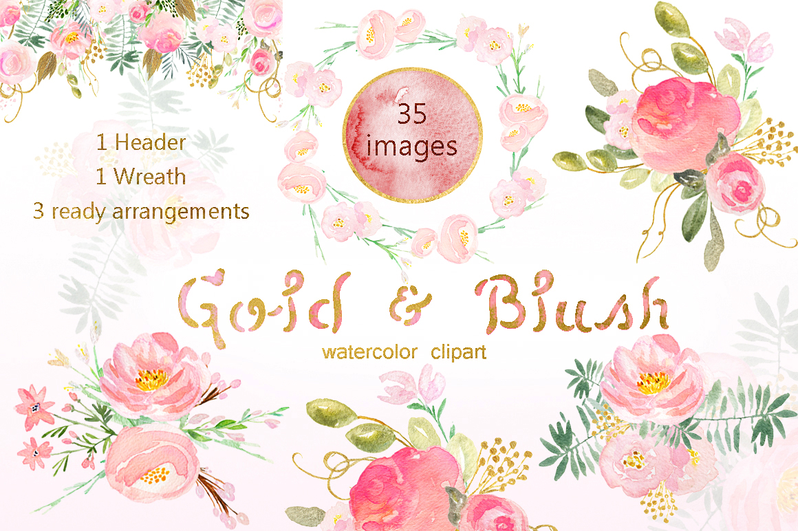 Gold & blush watercolor flowers example image 4