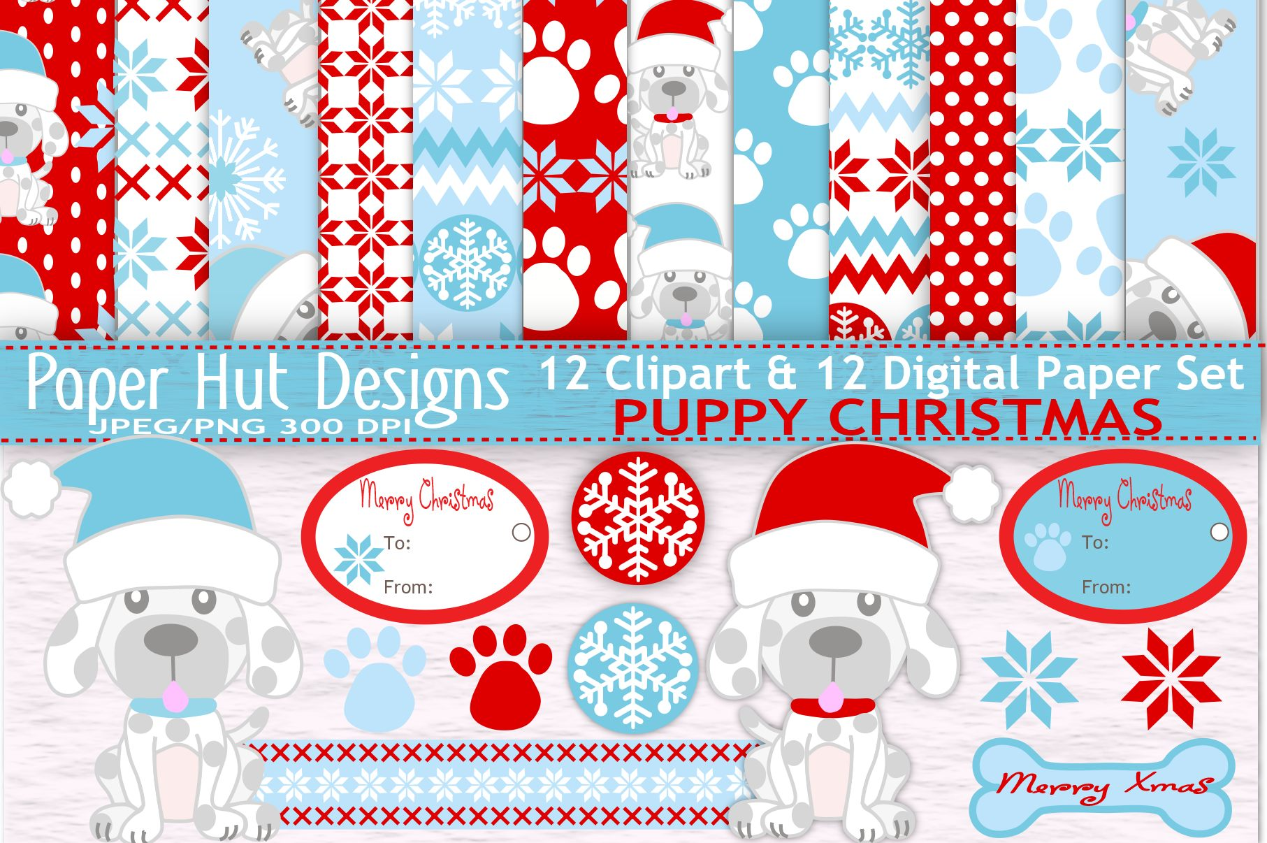 Christmas Santa Clipart And Digital Papers Set Example Image 1