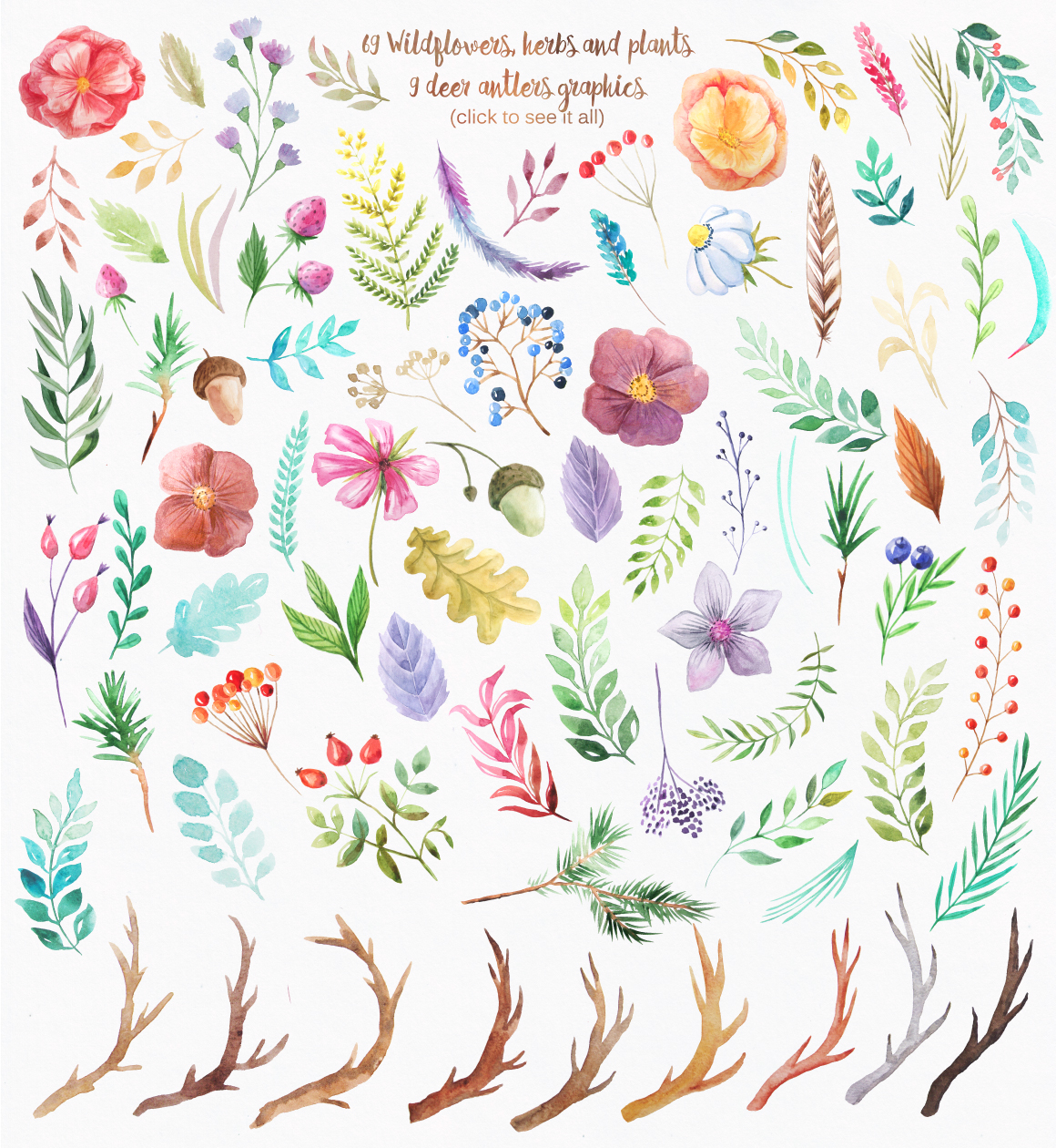 Summer Watercolor Floral BUNDLE example image 23