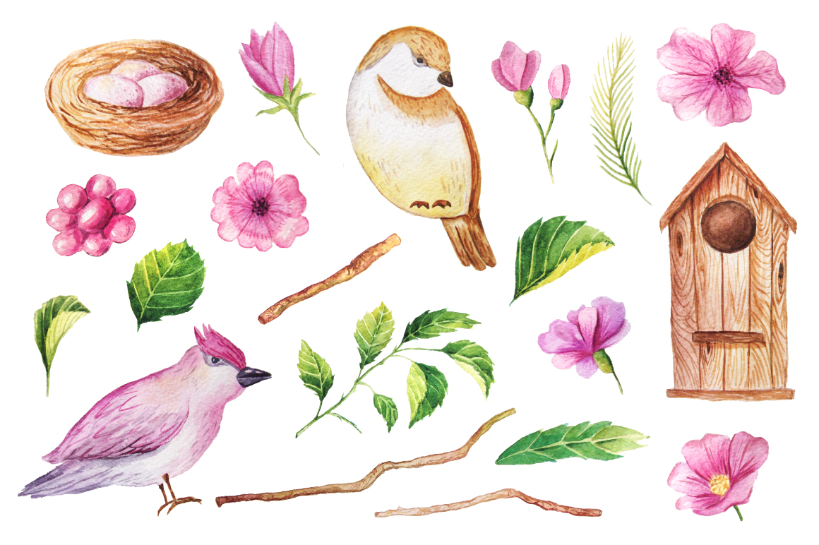 Summer Watercolor Floral BUNDLE example image 8
