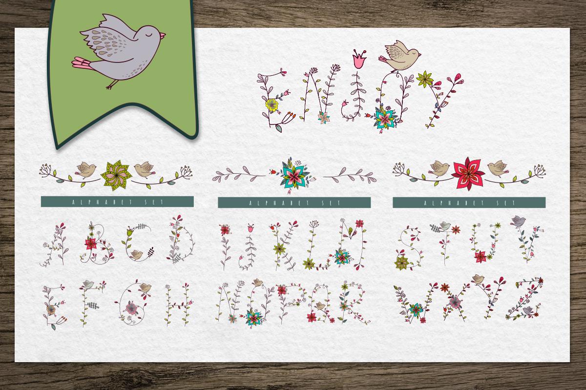 Floral & birds. Alphabet/patterns example image 4