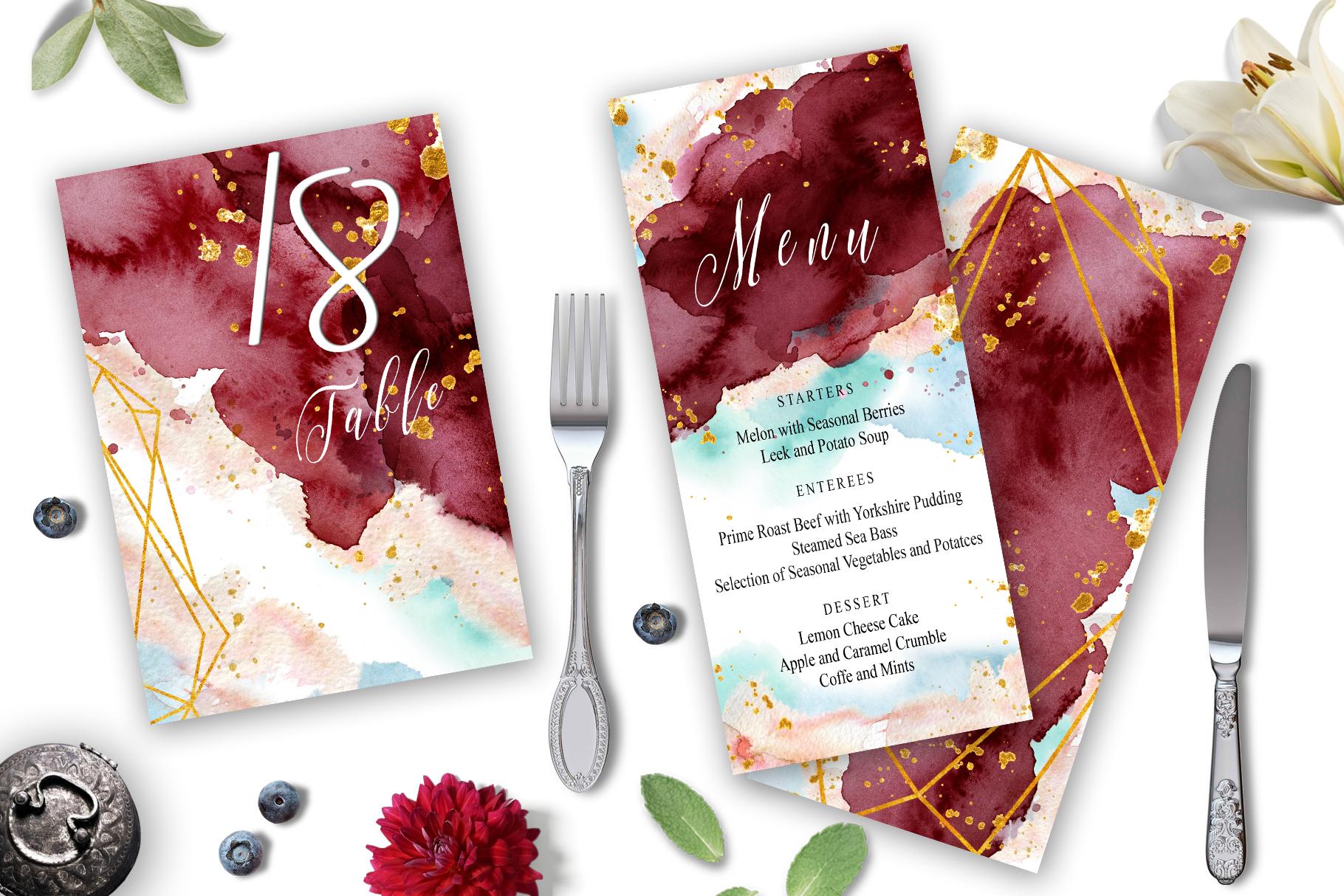 Burgundy and Gold Watercolor Wedding In | Design Bundles