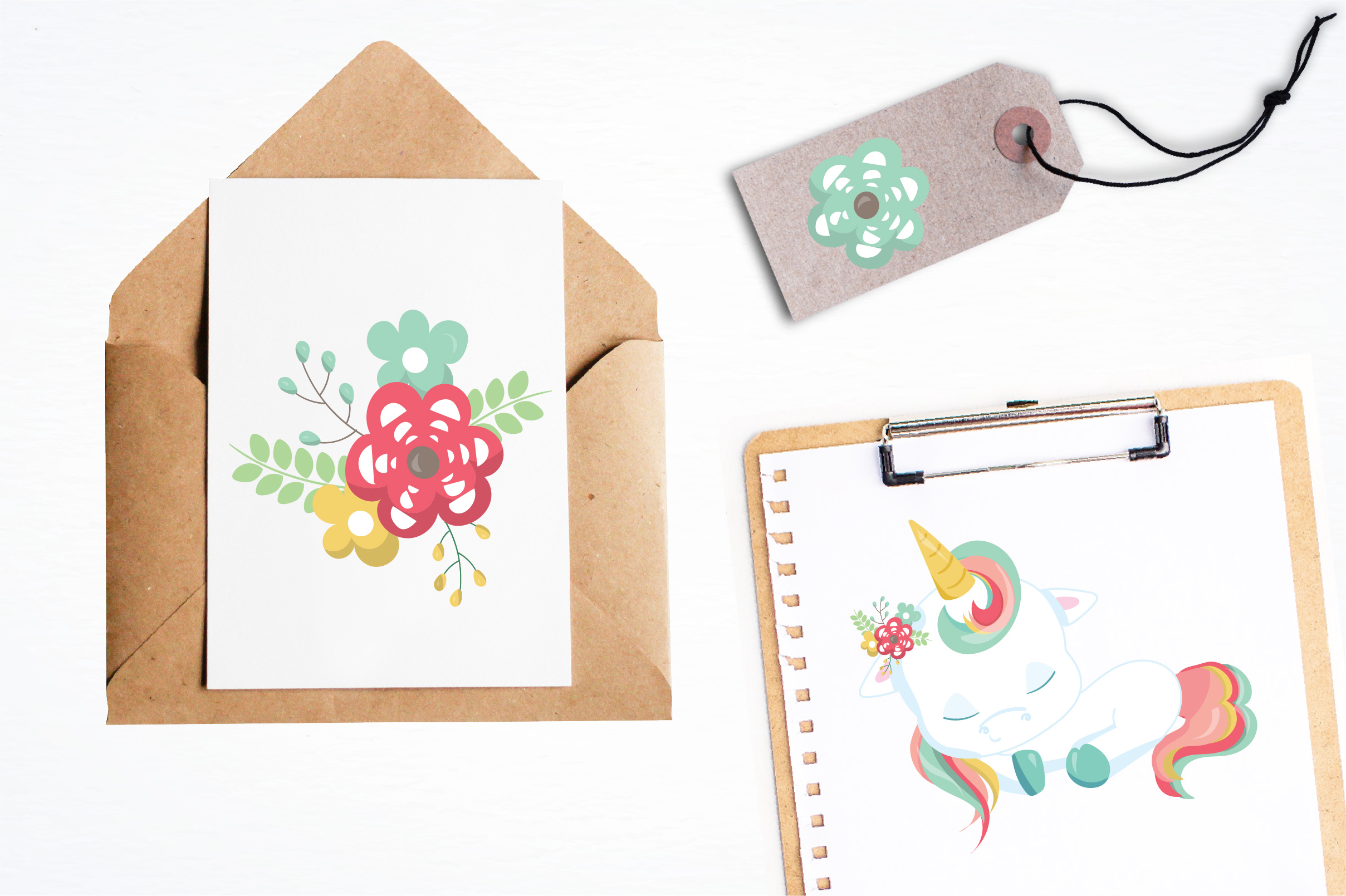 Floral unicorn graphics and illustrations example image 4