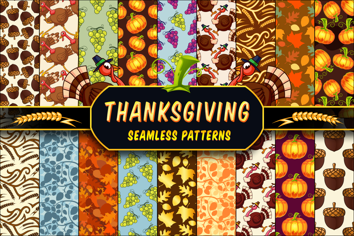 Thanksgiving Seamless Patterns Set by pixaroma in Graphics Patterns example image 1