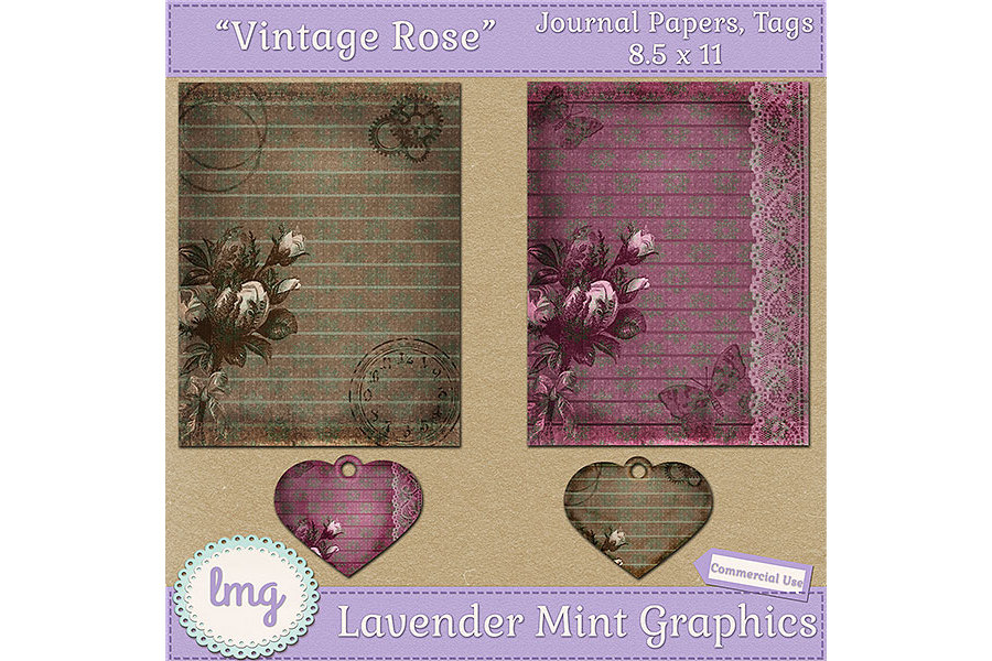 Vintage Rose Junk Journal Scrapbook Paper example image 2