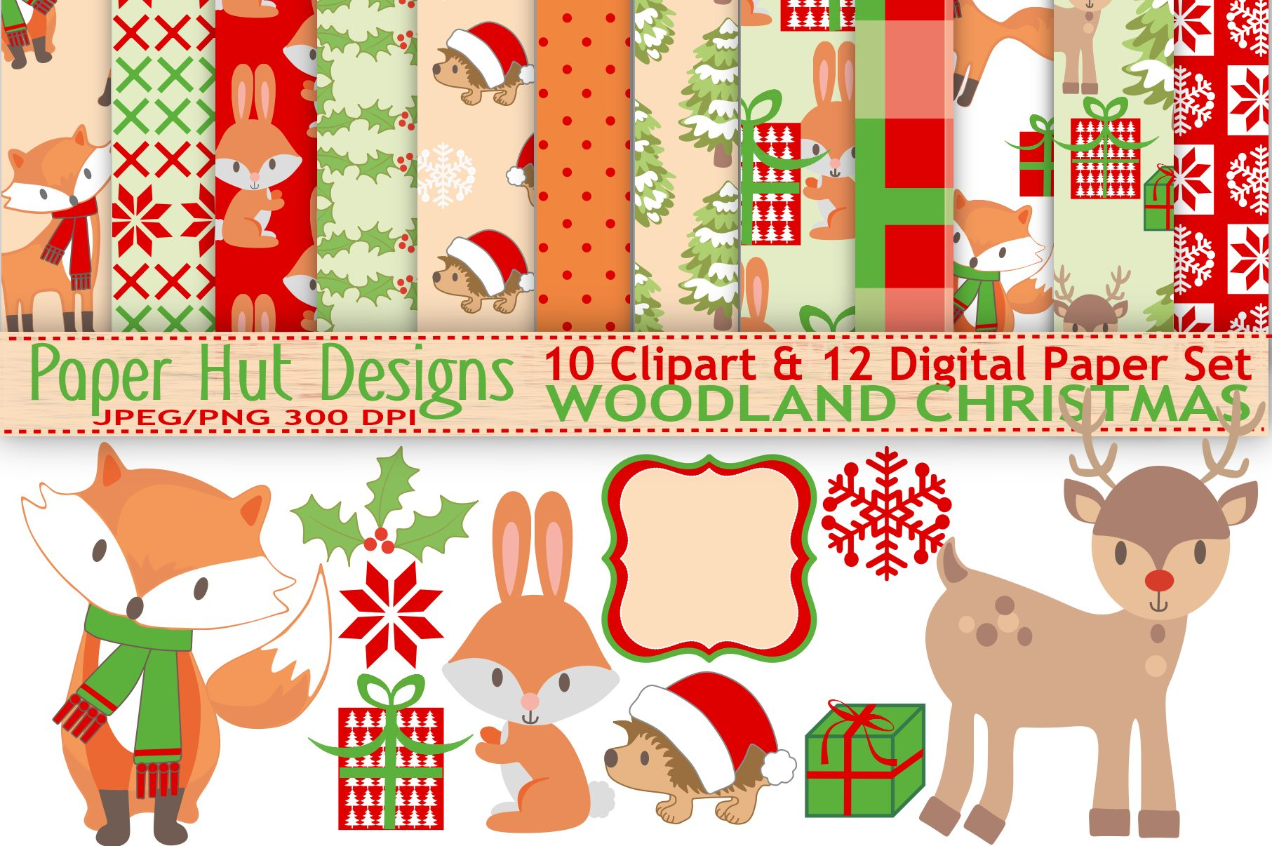 Woodland Christmas Clipart And Digital Papers Set Example Image 1