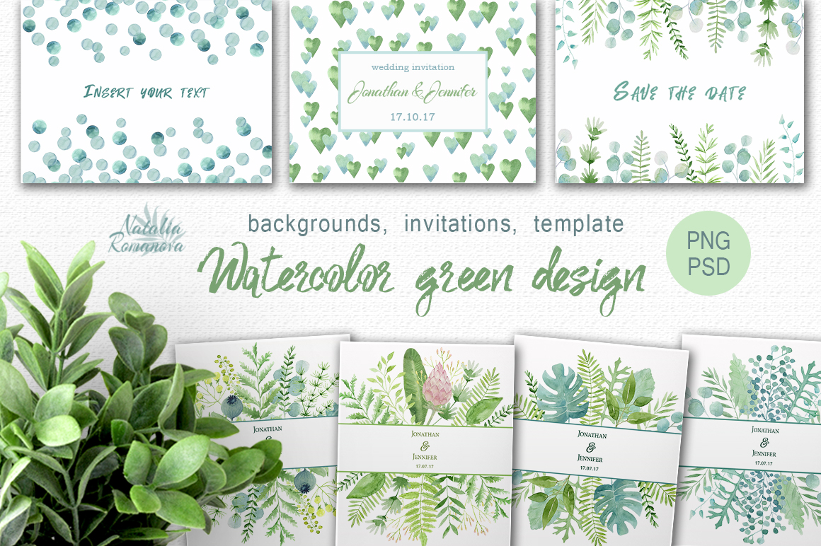 Watercolor green design example image 1