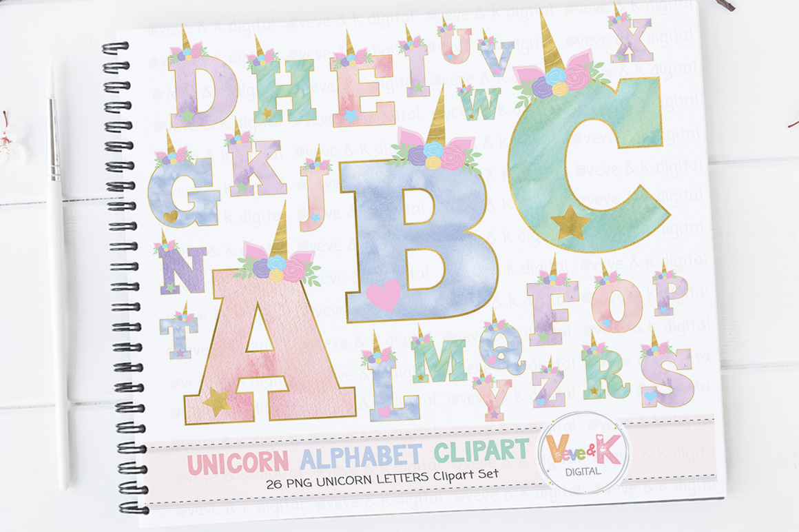 Unicorn Letters, Unicorn Letters Clipart, Unicorn Alphabet, Alphabet Clipart, Unicorn Clipart, Unicorn Graphics, Unicorn Alphabet Clipart example image 1
