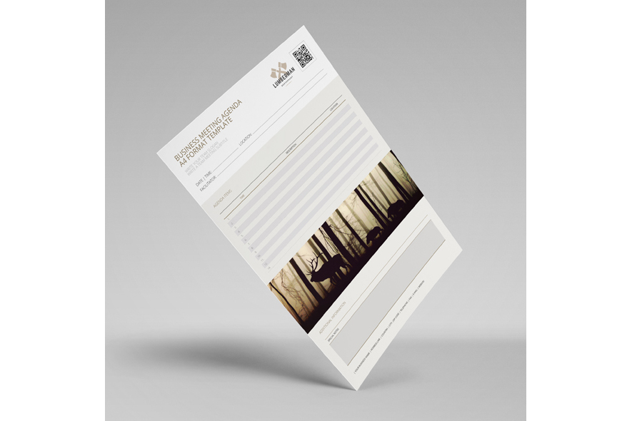 Business Meeting Agenda A4 Format Template example image 2